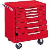 "Kennedy® 297R 29"" 7-Drawer Roller Cabinet w/ Friction Slides - Red"