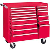 "Kennedy® 315XR K1800 Series 39-3/8""W X 18""D X 39""H 15 Drawer Red Roller Cabinet"