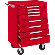 "Kennedy® 378XR K1800 Series 27""W X 18""D X 39""H 8 Drawer Red Roller Cabinet"