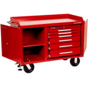 """Kennedy® 4806R 48"""" 6-Drawer Industrial Mobile Bench - Red"""
