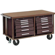 "Kennedy® 6012SB 60"" 12-Drawer Industrial Mobile Bench - Brown"