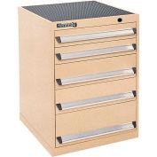Kennedy 5-Drawer Modular Cabinet Base Model-No Lock w / Suspension Drawers-24x24x31-11/16 /Brown