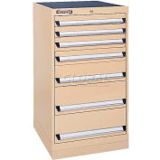 Kennedy 7-Drawer Modular Cabinet w/220 lb Cap. Suspension Slide Drawers - 24x24x39-5/8, Black