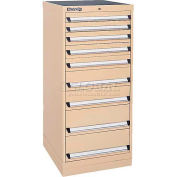 Kennedy 9-Drawer Modular Cabinet w/220 lb Cap. Suspension Slide Drawers-24x24x49-5/8, Brown Wrinkle