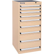 Kennedy 9-Drawer Modular Cabinet Base Model-No Lock w/Suspension Drawers-24x24x49-5/8, Tan Texture