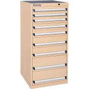 Kennedy 9-Drawer Modular Cabinet Base Model-No Lock w/Suspension Drawers-24x24x49-5/8, Utility Blue