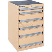 Kennedy 6-Drawer Modular Cabinet w/220 lb Cap. Suspension Slide Drawers-24x24x35-5/8, Brown Wrinkle