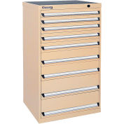 Kennedy 9-Drawer Modular Cabinet Base Model-No Lock w/Full Extension Drawers-30x24x49.6,Gray Wrinkle
