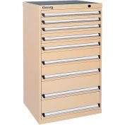 Kennedy 9-Drawer Modular Cabinet Base Model-No Lock w / Full Extension Drawers-30x24x49.6 /Yellow