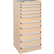 Kennedy 10-Drawer Modular Cabinet w/550 lb Cap. Full Extension Slide Drawers-30x24x59.5, Tan Texture