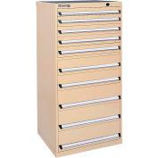 Kennedy 10-Drawer Modular Cabinet Base Model-No Lock w/Full Extension Drawers-30x24x59.5, Tan