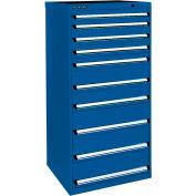 Kennedy 10-Drawer Modular Cabinet Base Mdl-No Lock w/Full Extension Drawers-30x24x59.5,Utility Blue