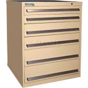 Kennedy 6-Drawer Modular Cabinet w/220 lb Cap. 90% Suspension Slide Drawers-30x30x40, Brown Wrinkle