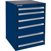 Kennedy 6-Drawer Modular Cabinet Base Model-No Lock w/Suspension Drawers-30x30x40, Gray Wrinkle