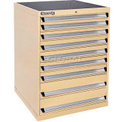 Kennedy 9-Drawer Modular Cabinet w/550 lb Cap. Full Extension Slide Drawers-30x30x40, Brown Wrinkle