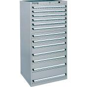 Kennedy 13-Drawer Modular Cabinet Base Model-No Lock w/Suspension Drawers-30x30x60, Utility Blue