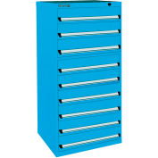 Kennedy 9-Drawer Modular Cabinet Base Model-No Lock w/Full Extension Drawers-30x30x60, Utility Blue