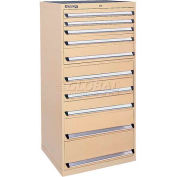 Kennedy 10-Drawer Modular Cabinet w/220 lb Cap. Suspension Slide Drawers - 30x30x60, Gray Wrinkle