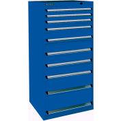 Kennedy 10-Drawer Modular Cabinet Base Model-No Lock w/Suspension Drawers-30x30x60, Gray Wrinkle