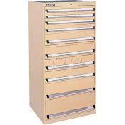 Kennedy 10-Drawer Modular Cabinet w/220 lb Cap. Suspension Slide Drawers - 30x30x60, Utility Blue