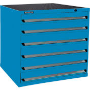 Kennedy 6-Drawer Modular Cabinet Base Model-No Lock w/Full Extension Drawers-44x30x40, Utility Blue