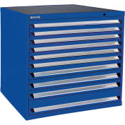 Kennedy 10-Drawer Modular Cabinet Base Model-No Lock w/Full Extension Drawers -44x30x40,Classic Blue