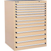 Kennedy 13-Drawer Modular Cabinet Base Model-No Lock w/Full Extension Drawers -44x30x60,Tan Texture