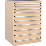Kennedy 10-Drawer Modular Cabinet w/550 lb Cap. Full Extension Slide Drawers - 44x30x60, Tan Texture