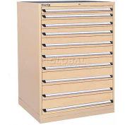 Kennedy 10-Drawer Modular Cabinet w/550 lb Cap. Full Extension Slide Drawers -44x30x60, Gray Wrinkle