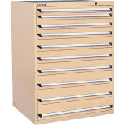 Kennedy 10-Drawer Modular Cabinet Base Model-No Lock w/Full Extension Drawers -44x30x60,Gray Wrinkle