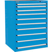 Kennedy 10-Drawer Modular Cabinet Base Model-No Lock w/Full Extension Drawers -44x30x60,Utility Blue