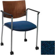 Side / Guest Chair, with Arms, Chocolate Wood Back and Casters, Navy Fabric Seat