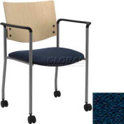 Side / Guest Chair, with Arms, Natural Wood Back and Casters, Navy Fabric Seat