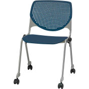 KFI Stack Chair with Casters and Perforated Back -  Plastic Seat - Navy - KOOL Series