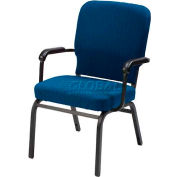 Kfi Oversized Church Stacking Chair With Arms, Cobalt Blue Fabric/Black Frame
