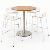 "KFI 36"" Round Bistro Table & 4 Barstool Set - River Cherry Table Top with White Stools"