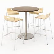 "KFI 36"" Round Bistro Table & 4 Barstool Set - Studio Teak Table Top with Natural Stools"