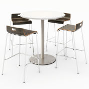 "KFI 36"" Round Bistro Table & 4 Barstool Set - Designer White Table Top with Espresso Stools"