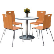 "KFI 36"" Round Dining Table & 4 Chair Set Crisp Linen Table Top with Natural Chairs"