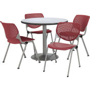 "KFI Table & 4 Chair Set - Burgundy Polypropylene Cafe Chairs & 36""W x 29""H Round Gray Nebula Table"