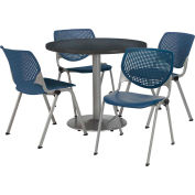 "KFI Dining Table & Chair Set - Round - 36""W x 29""H - Navy Plastic Chairs with Graphite Table"