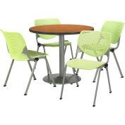 "KFI Table & 4 Chair Set - Lime Polypropylene Cafe Chairs & 36""W x 29""H Round Medium Oak Table"