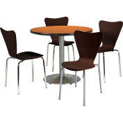 "KFI Table & 4 Chair Set - Stacking Wood Chairs, Espresso Finish & 36""W x 29""H Round Medium Oak Table"