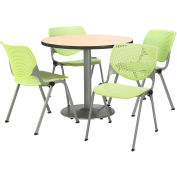 "KFI Table & 4 Chair Set - Lime Polypropylene Cafe Chairs & 36""W x 29""H Round Natural Table"