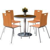 "KFI 36"" Round Dining Table & 4 Chair Set Walnut Tabletop with Natural Chairs"