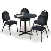 "KFI Table & 4 Chair Set - Vinyl Black Stack Chairs & 36""W x 29""H Round Graphite Nebula Table"