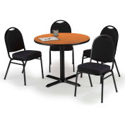 "KFI Table & 4 Chair Set - Fabric Black Stack Chairs & 36""W x 29""H Round Medium Oak Table"