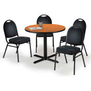 "KFI Table & 4 Chair Set - Vinyl Black Stack Chairs & 36""W x 29""H Round Medium Oak Table"