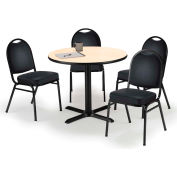 "KFI Table & 4 Chair Set - Vinyl Black Stack Chairs & 36""W x 29""H Round Natural Table"