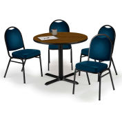 "KFI Table & 4 Chair Set - Vinyl Navy Stack Chairs & 36""W x 29""H Round Walnut Table"